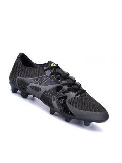 Football Men Running Soccer Lace Up Sport Outdoor Sneakers Athletic Shoes 39-44 - Black 40