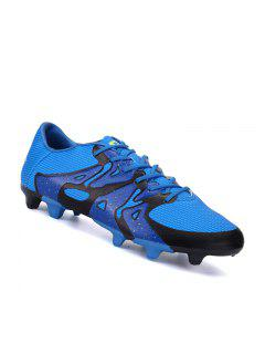 Football Men Running Soccer Lace Up Sport Outdoor Sneakers Athletic Shoes 39-44 - Blue 40