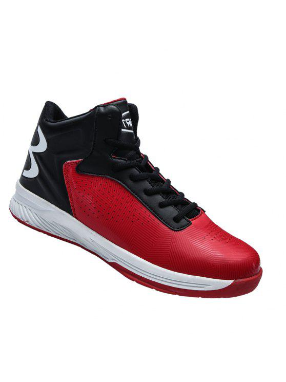hot sale online 269e9 cf502 Men High Top Running Lace Up Sport Outdoor Jogging Walking Athletic Shoes  39-44 BLACK AND ORANGE RED WITH BLACK