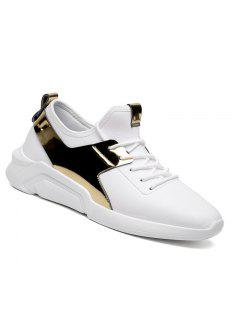 Hombre Corriendo Con Cordones Casual Sport Jogging Al Aire Libre Walking Athletic Shoes 39-44 - Blanco De Oro 41