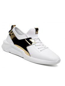 Hombre Corriendo Con Cordones Casual Sport Jogging Al Aire Libre Walking Athletic Shoes 39-44 - Blanco De Oro 40
