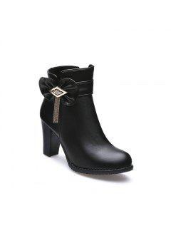 Bows Tassels Heels Casual Ladies Boots SQM#717 - Black 30