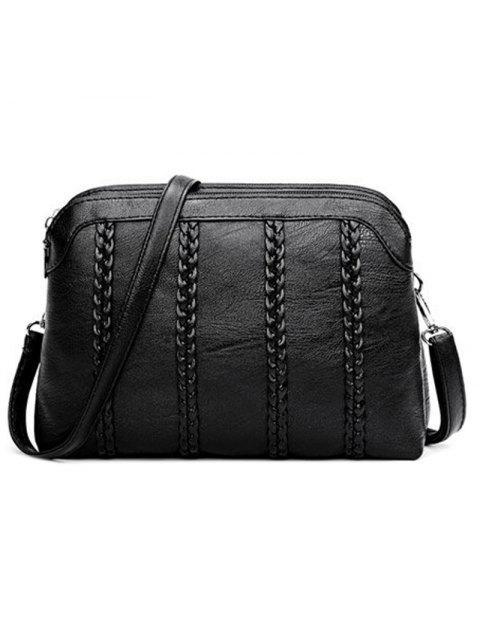 PU-Leder-Damen-Mode-gewebte Schulter-Kuriertaschen - Schwarz  Mobile