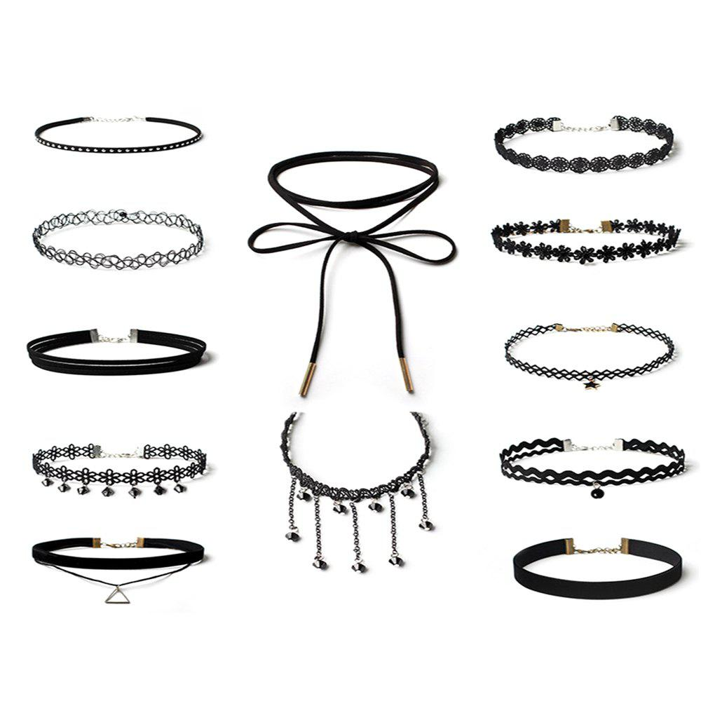 12pcs Women's Jewelry Vintage Simple Style Hollowed Out Choker Jewelry