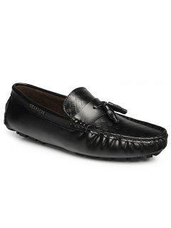 Soft Cuero Doug Con Flecos De Cuero De Los Hombres Ocasionales Zapatos De Los Pies Del Estilo De Conducción - Negro 43