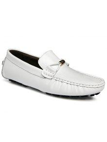 Pois Mâle En Cuir Conduite Britannique Loisirs Blanc Pieds Chaussures Paresseuses - Blanc 42