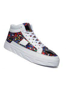 عالية أعلى أحذية الرجال الدانتيل يصل الرياضة الملونة الأعمال المشي الأحذية 39-44 - الأزهار 44