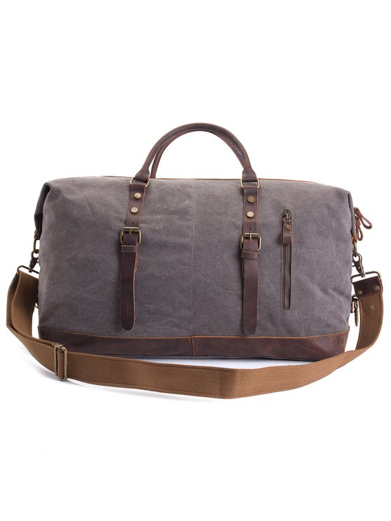 Trendy Augur Oversized Canvas Genuine Leather Trim Travel Tote Duffel Shoulder Handbag Weekend Bag Gray
