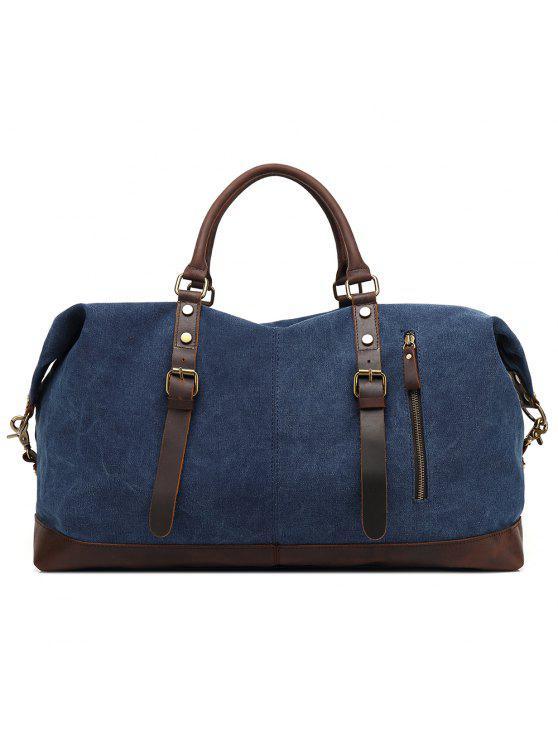 Outfit Augur Oversized Canvas Genuine Leather Trim Travel Tote Duffel Shoulder Handbag Weekend Bag Blue