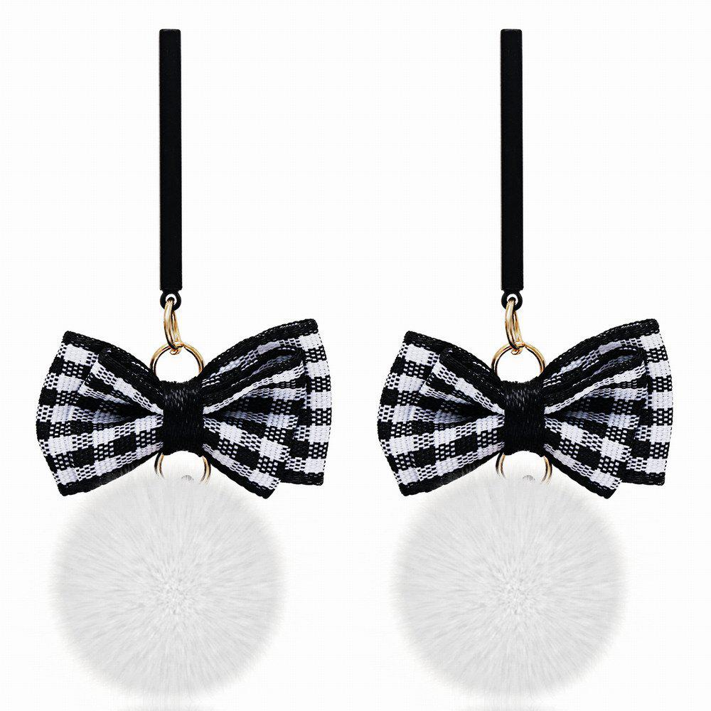 Korean Style Graceful Stripe Bow Hair Bulb Long Earrings Charm Jewelry