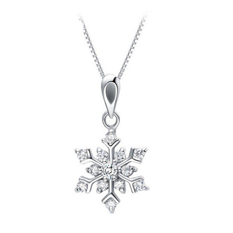 Charm Silver Synthetic Rhinestone Crystal Snowflake Pendant Chain Necklace for Women A0238
