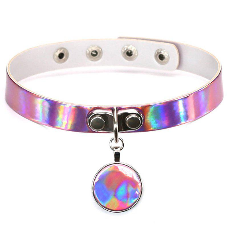 Colors Round Punk Harajuku Collar Choker Necklaces Pendants for Women Heart PU Leather Choker Goth Neck Jewelry
