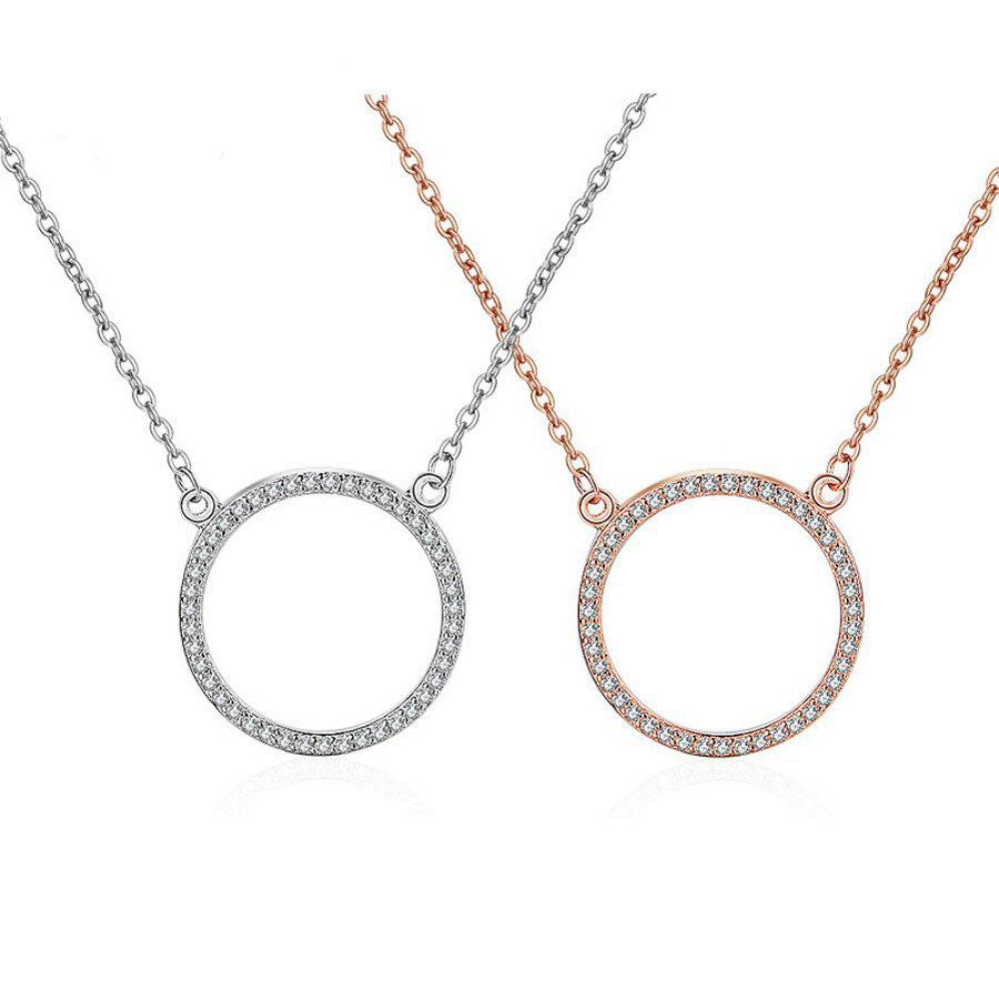 Charm Rose gold Shiny Crysral Circles 925 Silver Chain Necklaces & Pendants For Women Zircon Paved Round Pendants Chakra A0248