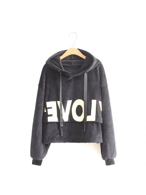 best New Lady'S Two Sided Velvet Mosaic of The Letter Hoodie - BLACK ONE SIZE Mobile