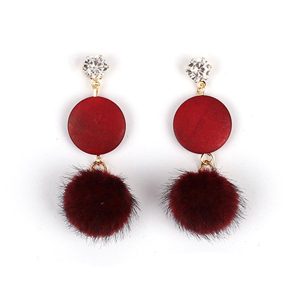 Sweet and Fresh Jewelry Hair Ball Wood Diamond Plush Velvet Girls Heart Earrings