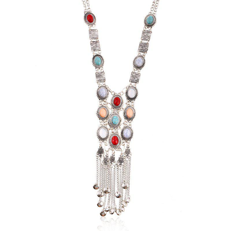 Long Style Vintage Silver Tassels Necklace