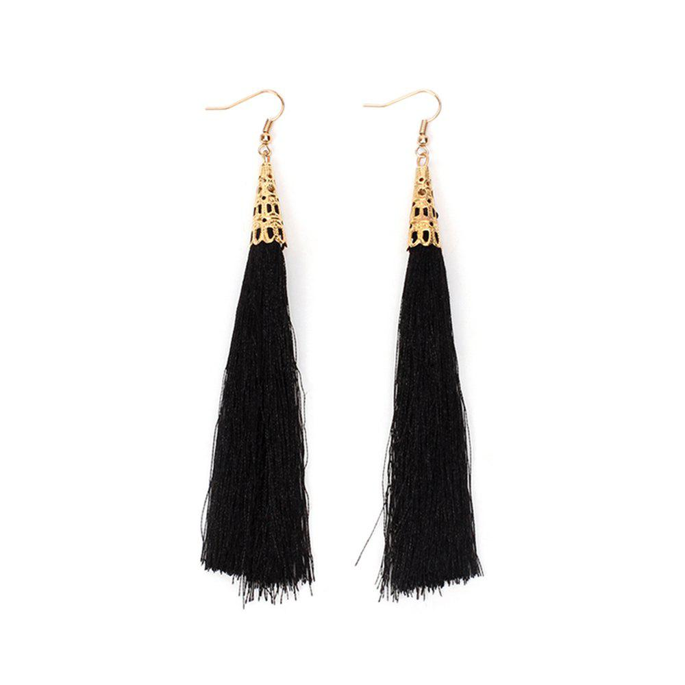 Exaggerated Hand Cotton Tassel Long Earrings Jewelry