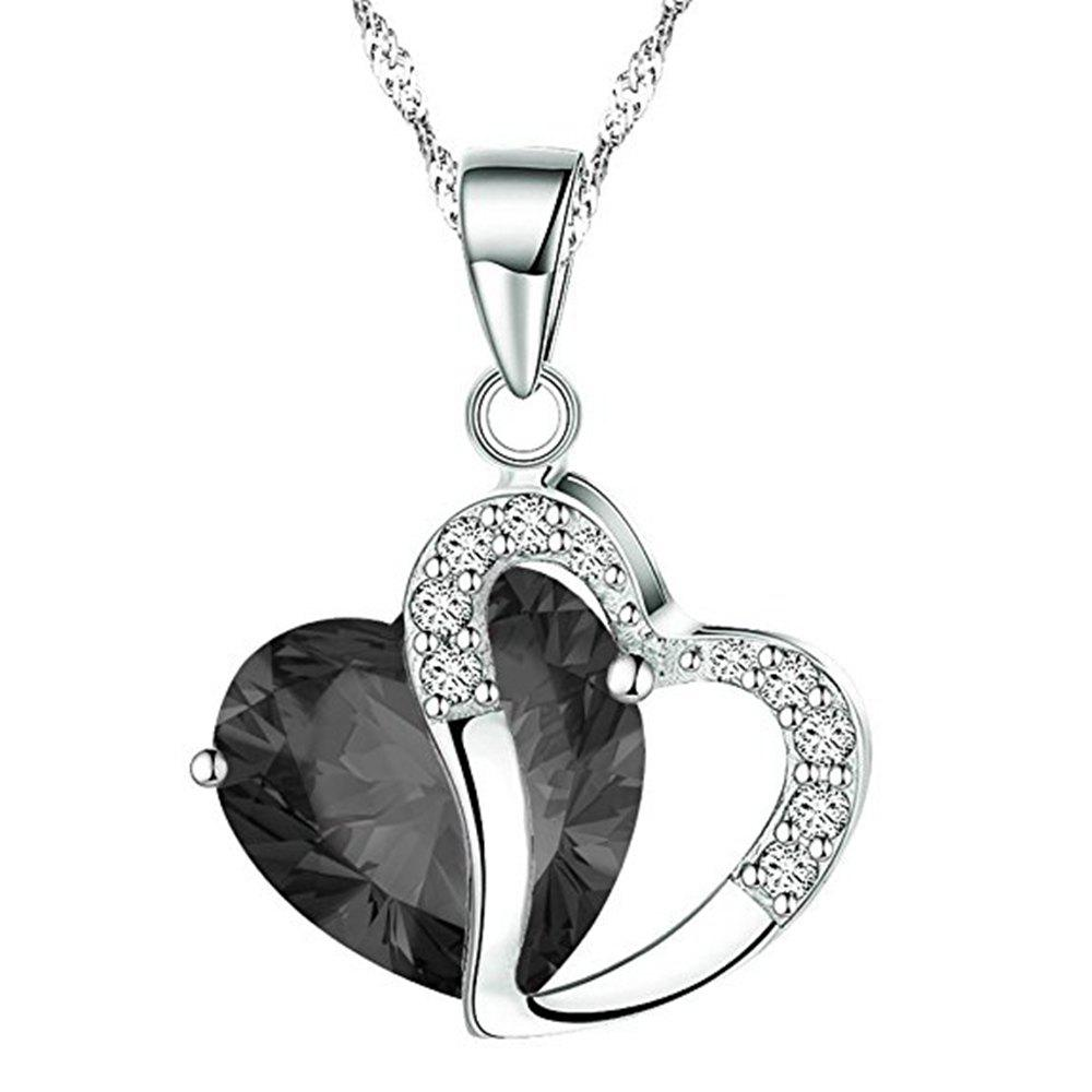 Women Fashion Crystals Heart Shape Pendant Necklace