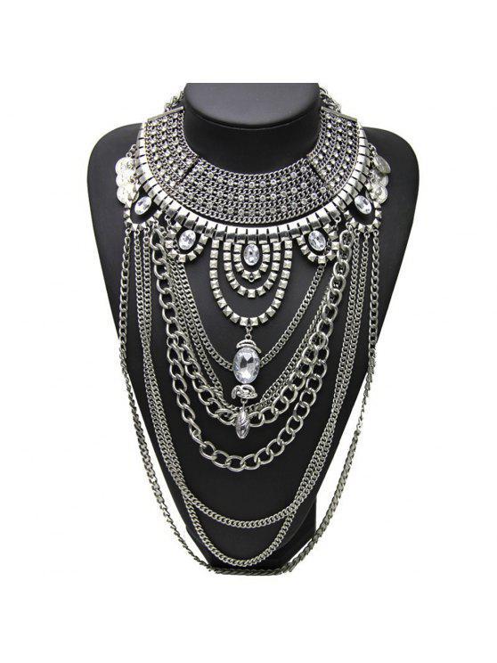 6d7bdfa6b المرأة خمر طويلة بوهو الماس قلادة العصرية اكسسوارات المجوهرات - فضة