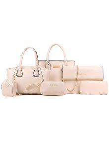 ستة الصوفية لاش التفاف خطوط الأزياء حقائب اليد - أبيض