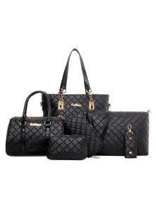ستة قطع الأزياء منقوشة حقيبة الإناث - أسود
