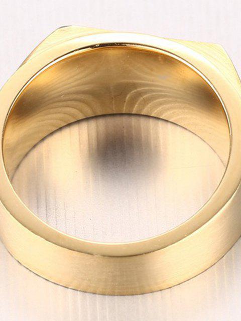 Vintage Edelstahl Schmuck mit Zirkon Herren Ring - Golden 9 Mobile