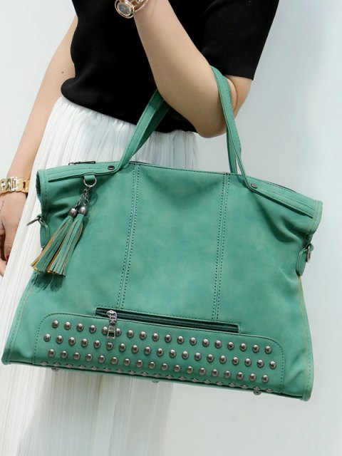 Rivet en cuir Nubuck Fashion Grand sac à main Zipper Bag - Vert  Mobile
