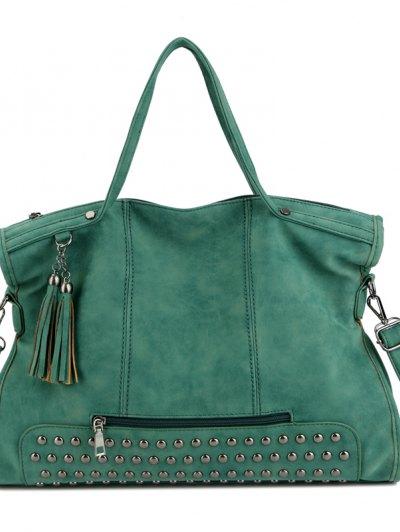 Fashion Nubuck Leather Rivet Large Zipper Bag Hand Bag - Green