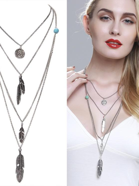 sale Europe and The United States Jewelry Multi - Layer Alloy Necklace Feather Pendant Turquoise Accessories Ladies Jewelry - GOLD