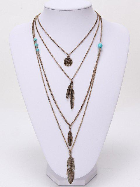 sale Europe and The United States Jewelry Multi - Layer Alloy Necklace Feather Pendant Turquoise Accessories Ladies Jewelry - GOLD  Mobile
