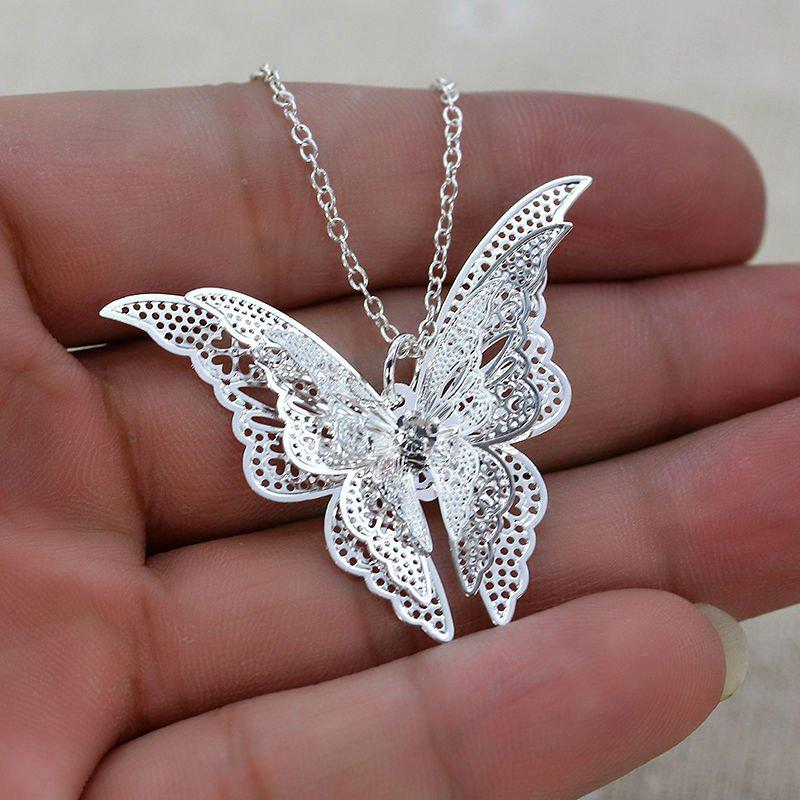 New 925 Sterling Silver Lovely Butterfly Pendant Chain Necklace Women Jewelry
