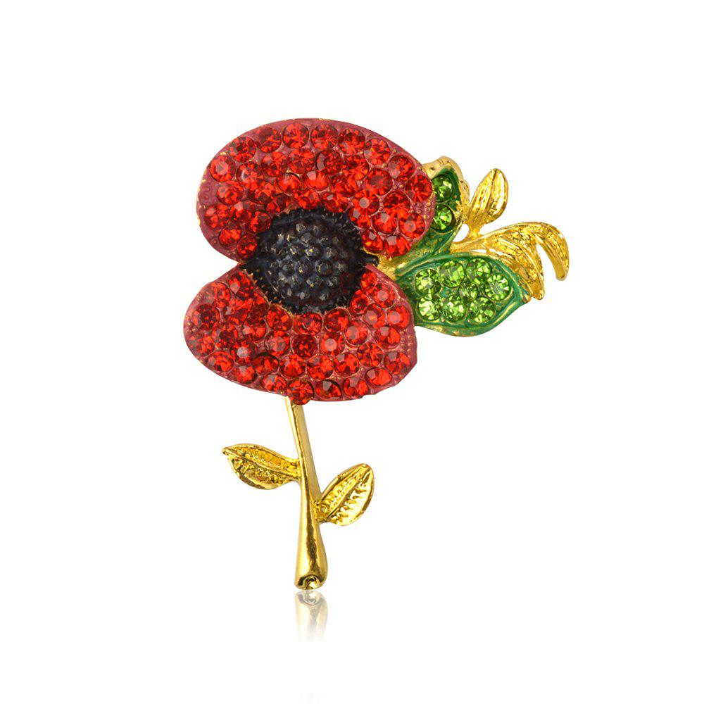 Charming Fashion Jewelry Accessories Royal British Style Brooch Crystal Poppy Flower Brooch Pin