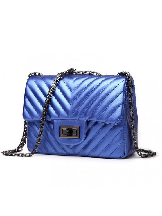 fancy Ladies Casual Twill Pattern Square Crossbody Bag - ROYAL