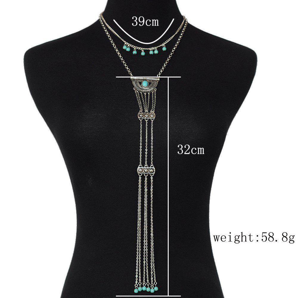 Vintage Ethnic Turquoise Shield Necklace Multilayer Tassel Chain Gold Silver Long Pendant Necklace Ladies Accessories