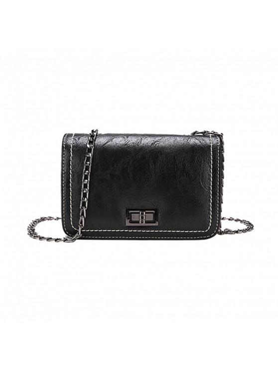 Einfache Atmosphärische Kette Square Messenger Bag - Schwarz