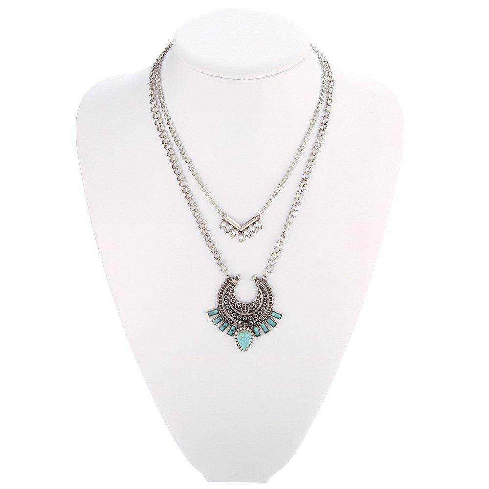 Vintage Bohemian turquoise alloy necklace inlaid zircon geometric link chain multilayer necklace pendant women jewelry