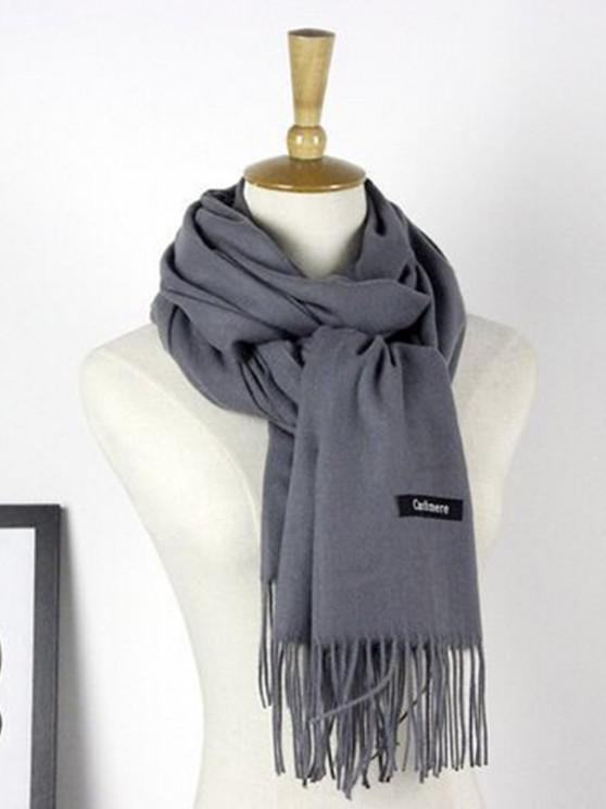 new Autumn Cashmere Scarf Monochrome New Female Tassel Double Color Nap Scarf Shawl - DEEP GRAY 190X70 CM