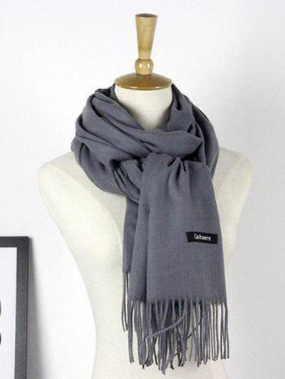 Autumn Cashmere Scarf Monochrome New Female Tassel Double Color Nap Scarf Shawl - Deep Gray 190x70 Cm