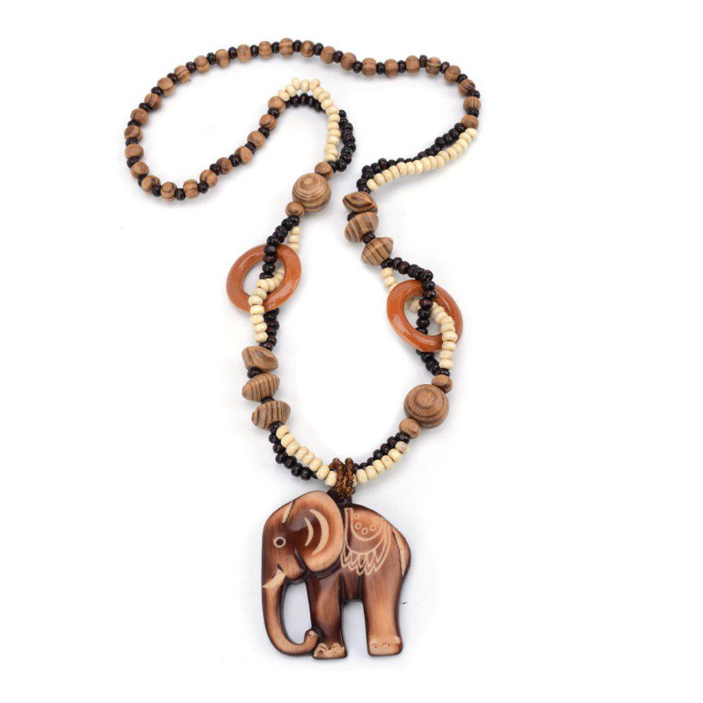 Women Fashion Jewelry Hand Carved Elephant Wood Bead Pendant Long Necklace Choker
