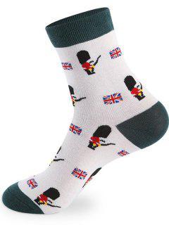 British Cartoon Pattern Knitted Socks - 5 Pairs