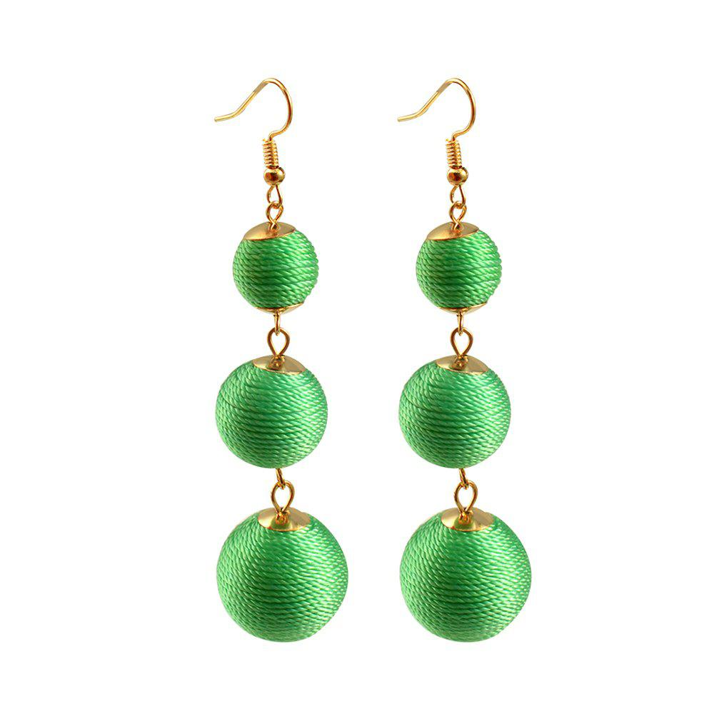 Thread Ball Dangle Earrings Triple Dangle Earrings Drop Earrings Beaded Balls Ear Bon Bon Color Pom Pom Ball Drop For Women