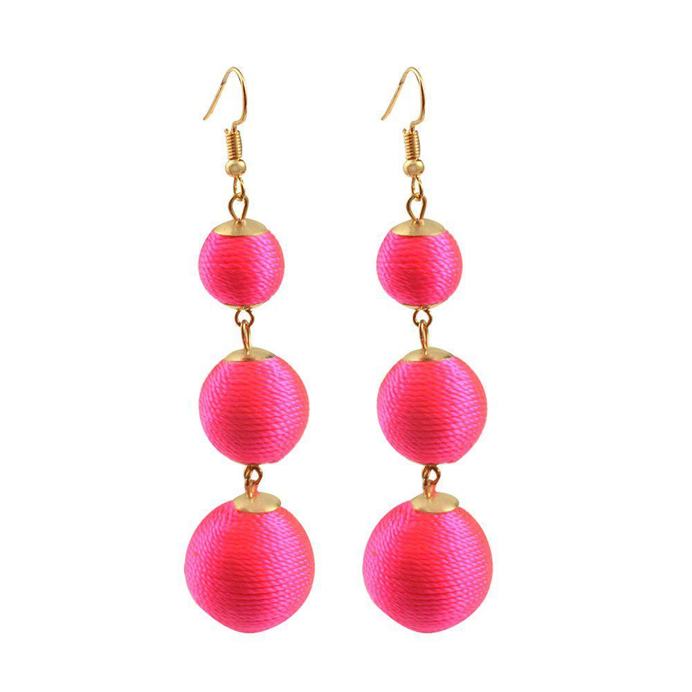 Thread Ball Dangle Earrings Triple Dangle Earrings Drop Earrings Beaded Balls Ear Bon Bon Color Pom Pom Ball Drop For Women