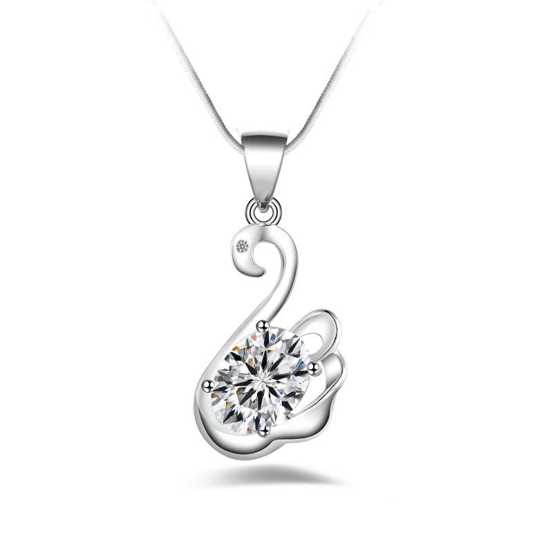 Fashion Design Crystal Swan-shaped Long Silver-plated Pendant Necklace