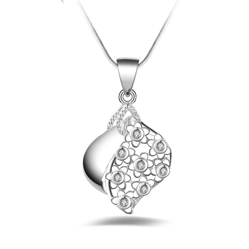 Fashion Design Silver-plated Crystal Pendant Necklace Clavicle Chain with Zircon