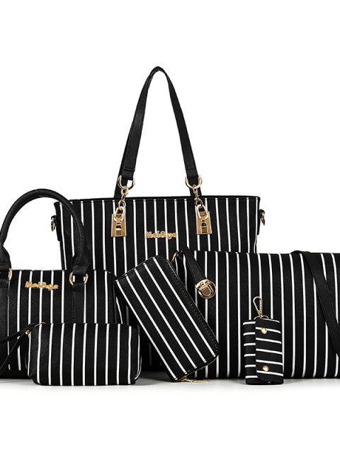 new Striped Handbags Shoulder Bag Messenger Bag Handbag Child Six Pieces - BLACK  Mobile