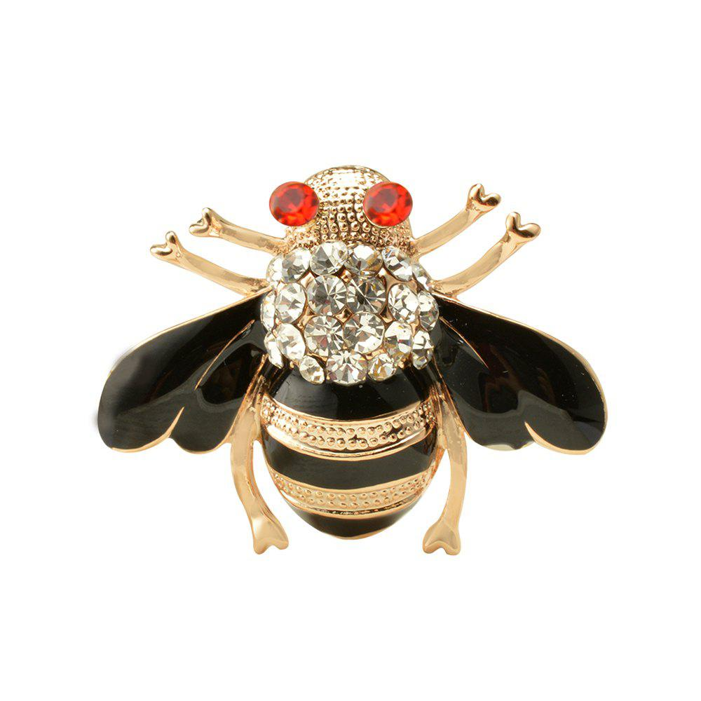 Alloy Metal Special Bee Brooches Enamel Broches Gold Color Champagne Crystal Hijab Pins