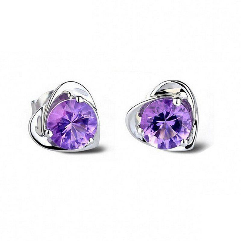 Heart Real 925 Silver Plated Earrings for Women New Amethyst Stud Earrings Jewelry 925 Stamp EWS207