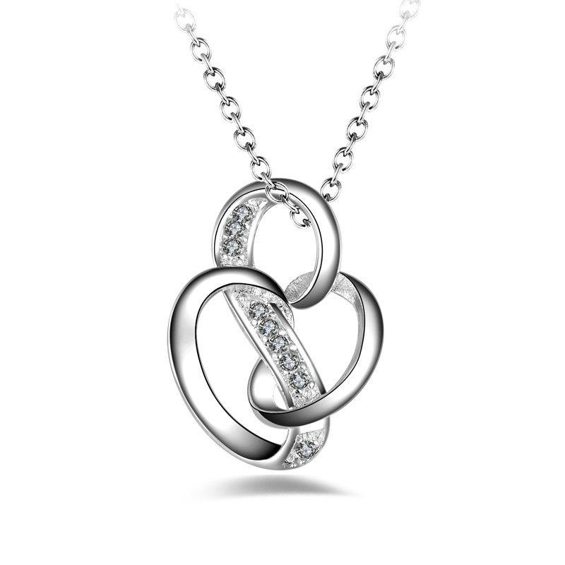 Korean Style Fashion Design Zircon Silver-plated Pendant Necklace Clavicle Chain Jewelry