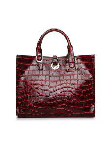 الأزياء خطوط التمساح المشبك الأيدي بوليصة الشحن حقيبة الكتف - نبيذ أحمر
