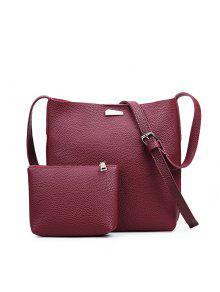 قطعتين الأزياء الليتشي الحبوب دلو المياه حقيبة الإناث - نبيذ أحمر